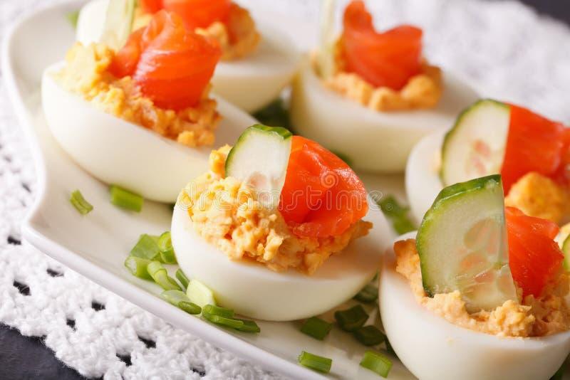 Uova farcite con il primo piano del salmone, del formaggio e del cetriolo horizonta fotografie stock libere da diritti