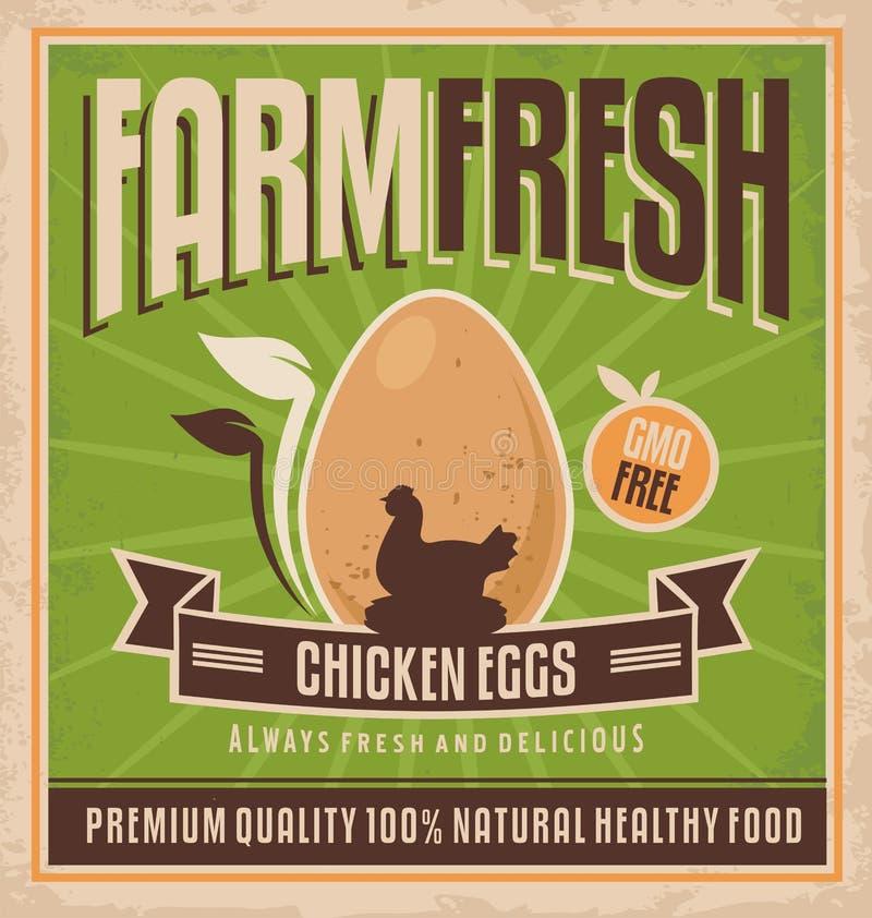 Uova fresche del pollo dell'azienda agricola illustrazione vettoriale