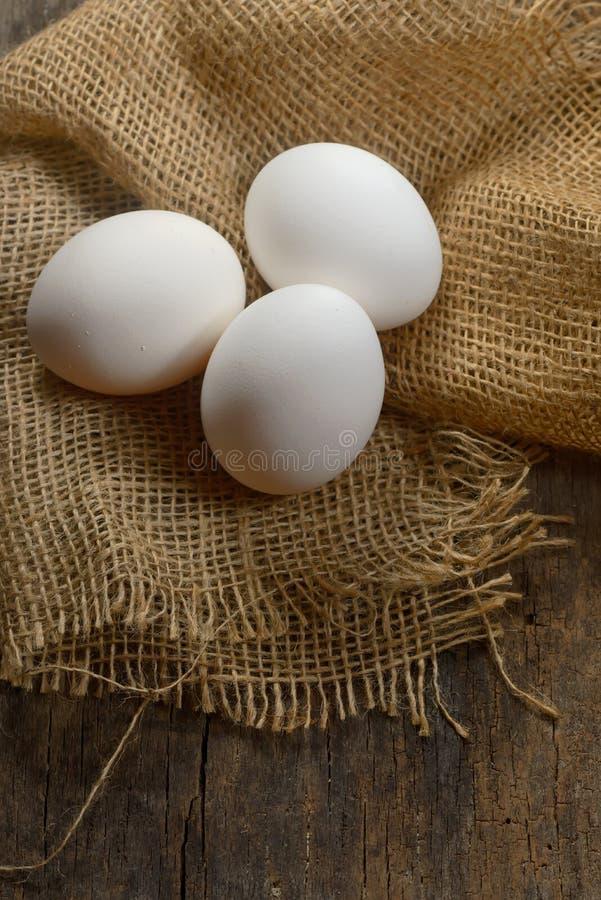 Uova fresche dell'azienda agricola bianca sana fotografie stock libere da diritti