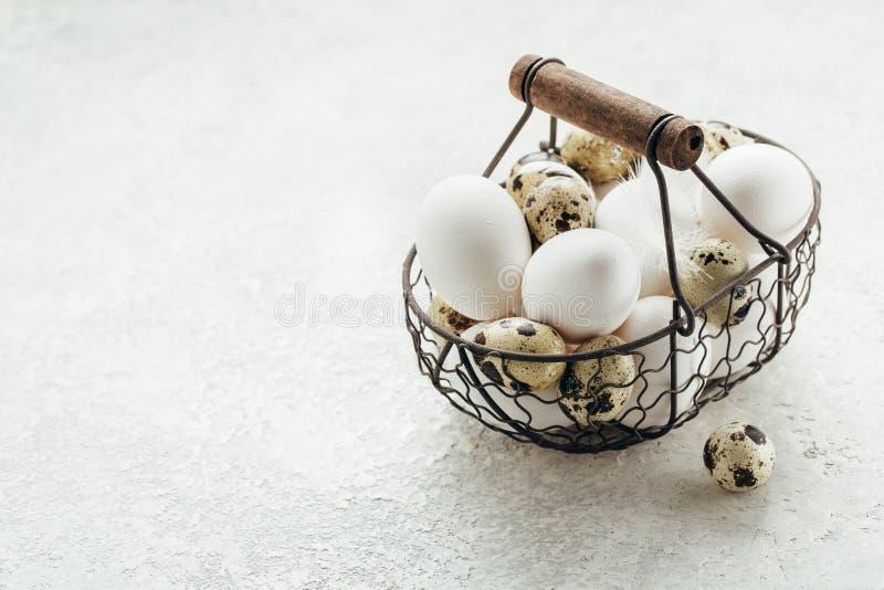 Uova fresche della quaglia e del pollo dell'azienda agricola in un canestro fotografie stock