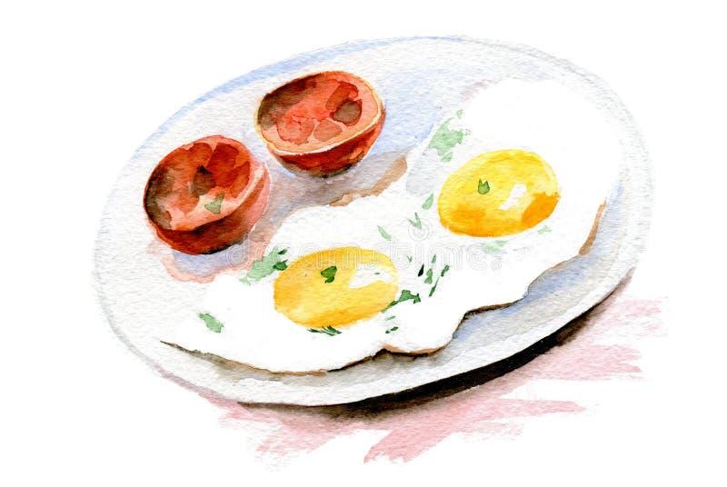 Uova fritte e pomodoro sul piatto Illustrazione dell'acquerello su fondo bianco royalty illustrazione gratis