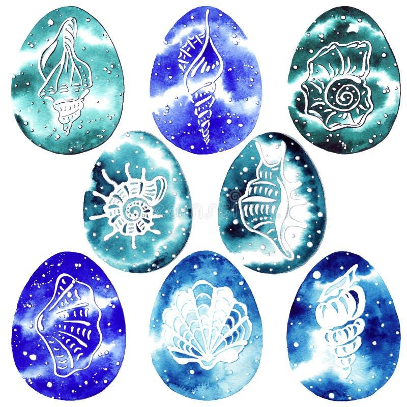 Uova Pasqua - acquerello marino della pittura: Pesce, medusa, coperture, ippocampo illustrazione di stock