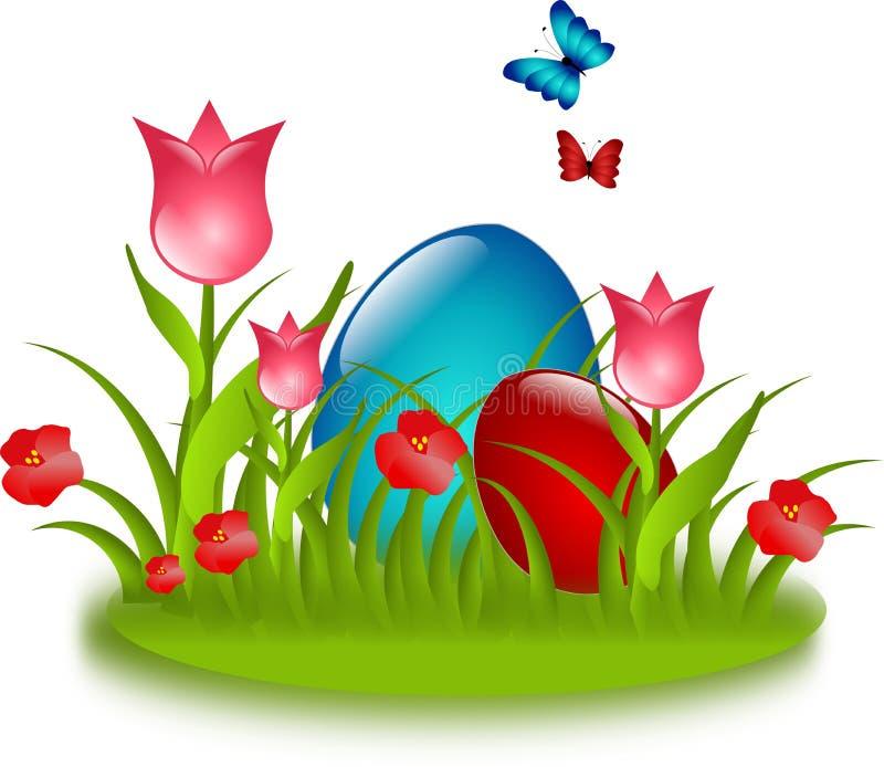 Uova rosse e blu in erba con il fiore e i butteflies illustrazione di stock