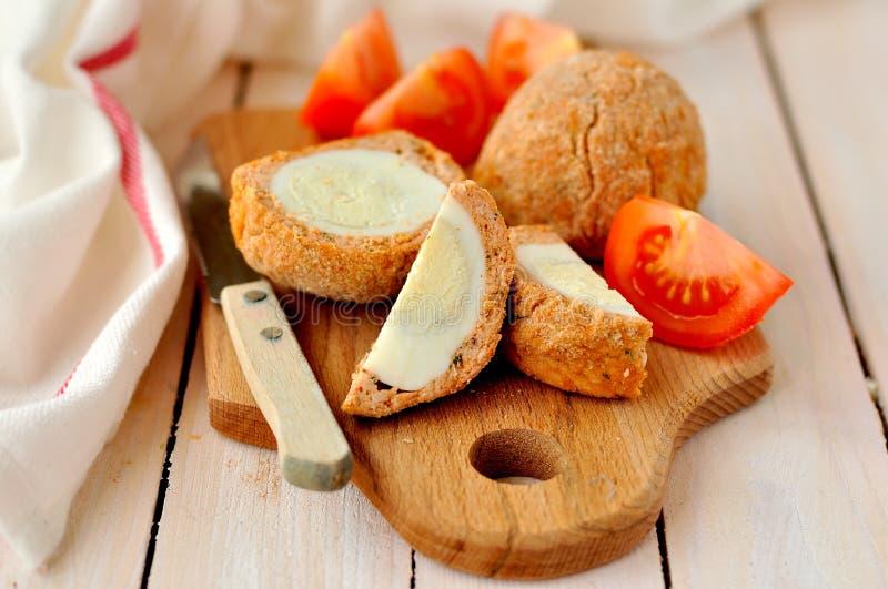 Uova sodo/carne per salsiccia fotografia stock libera da diritti