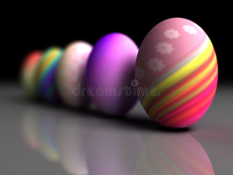 Uova variopinte di Pasqua isolate su fondo grigio illustrazione di stock
