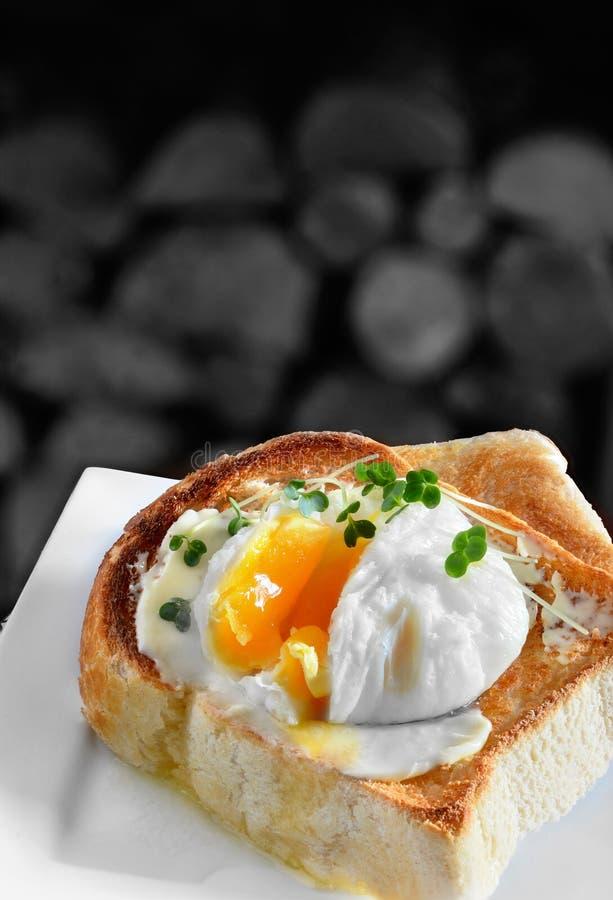 Uovo affogato su pane tostato fotografie stock libere da diritti