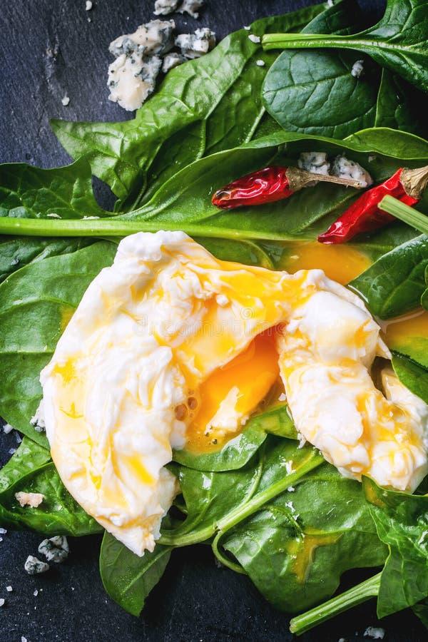 Uovo affogato su spinaci fotografia stock libera da diritti