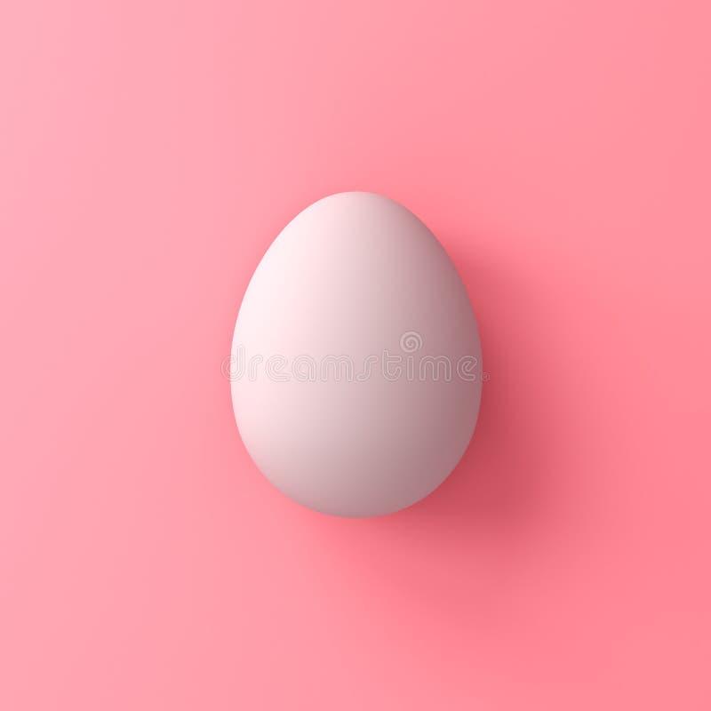 Uovo bianco sul fondo rosa di colore pastello con la rappresentazione delle ombre 3D immagine stock