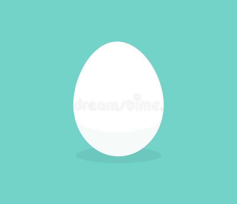 Uovo bianco sull'icona piana semplice del fondo blu illustrazione vettoriale
