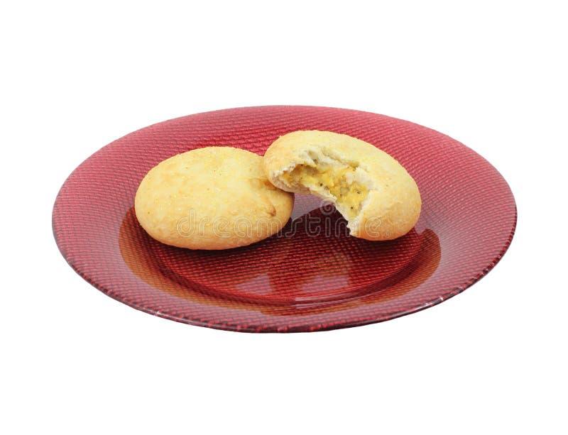 Uovo della carne del morso e pasticceria del formaggio immagine stock