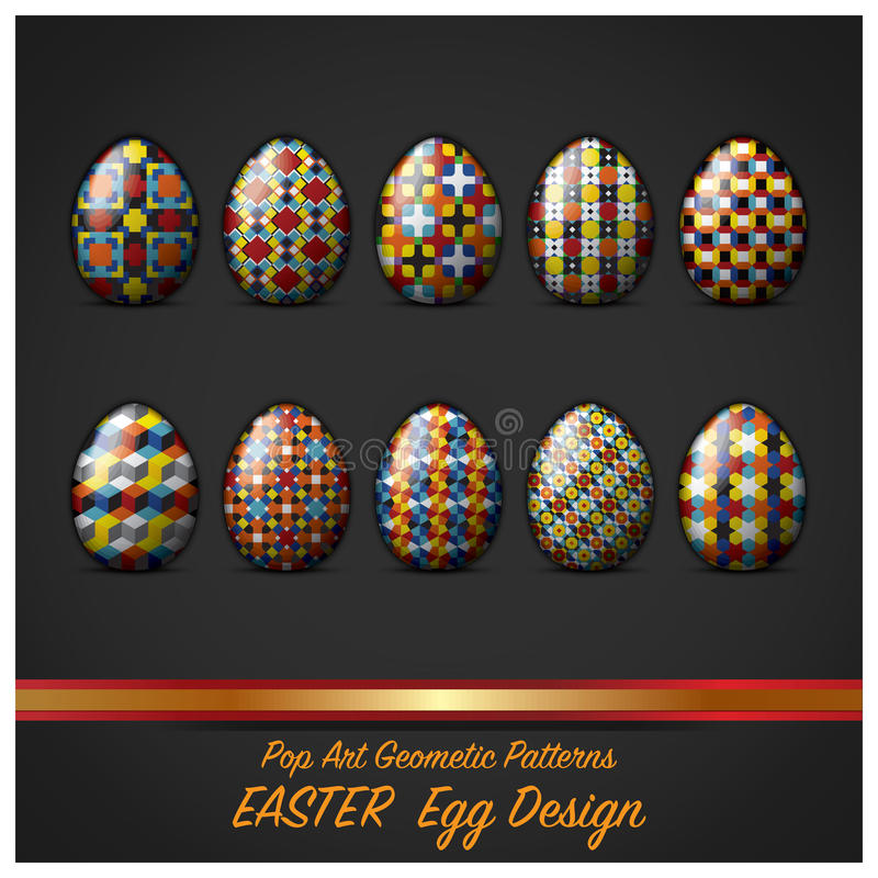 Uovo di giorno di Pasqua con lo schiocco Art Geometric Pattern Style illustrazione di stock