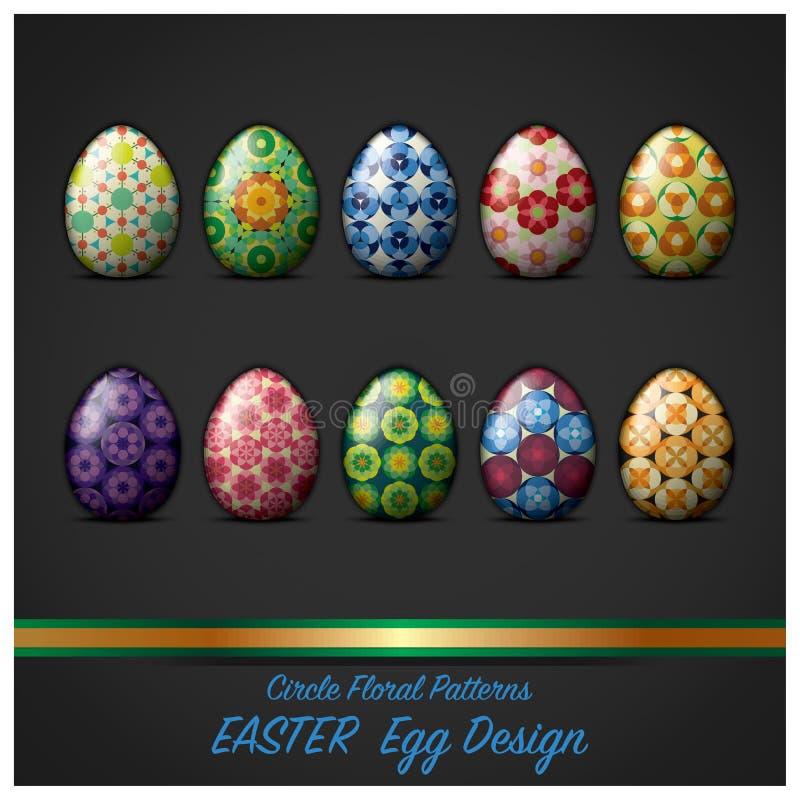 Uovo di giorno di Pasqua con stile floreale del modello del cerchio illustrazione vettoriale