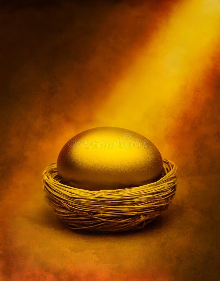 Uovo di nido dell'oro immagine stock libera da diritti