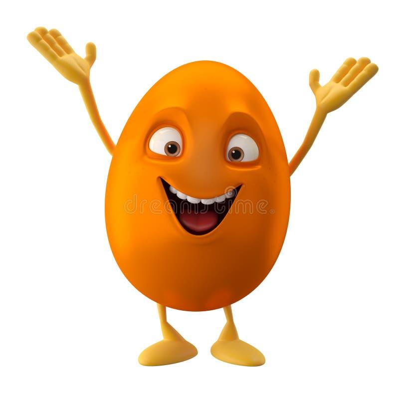 Uovo di pasqua arancio sorridente d personaggio dei
