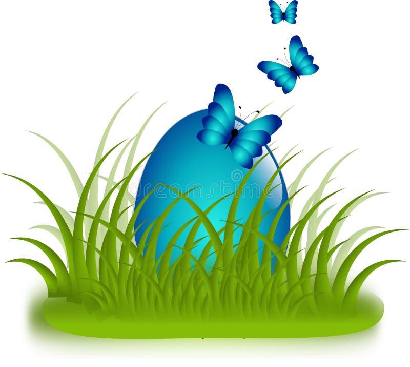 Uovo di Pasqua blu in erba con i butteflies illustrazione di stock