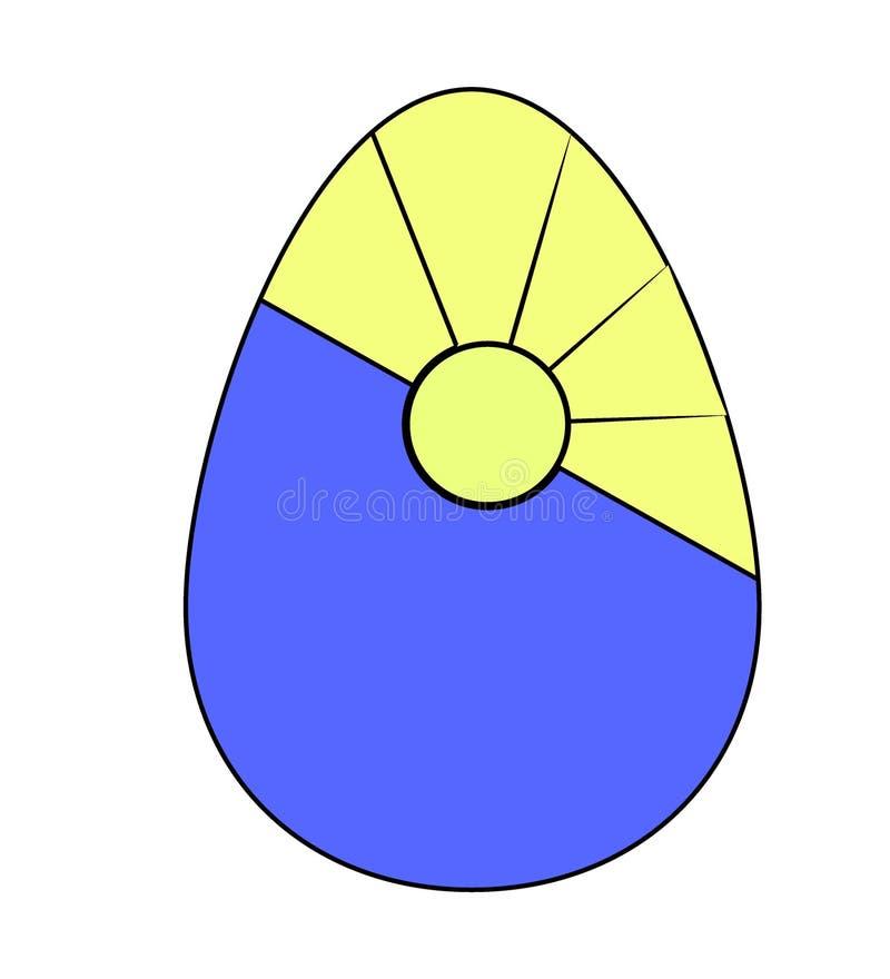 Uovo di Pasqua colorato decorato con il sol levante piano Vettore illustrazione di stock