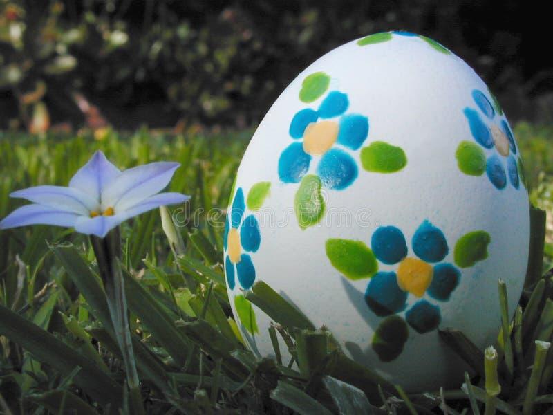 Uovo di Pasqua Con i fiori blu immagini stock libere da diritti