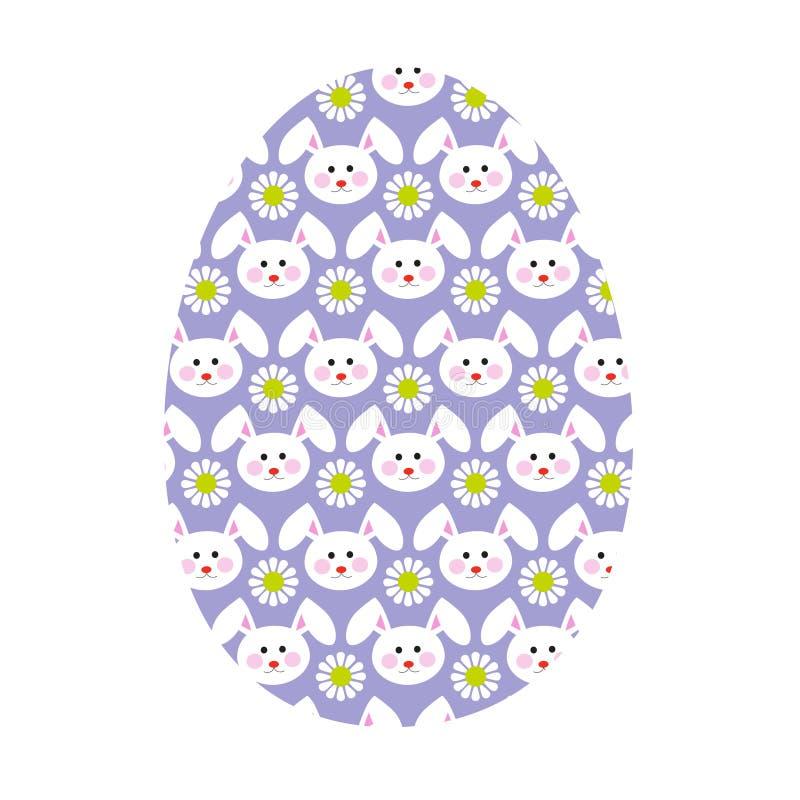 Uovo di Pasqua con il modello del coniglietto illustrazione di stock