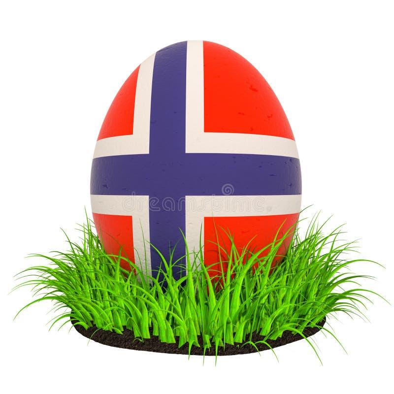 Uovo di Pasqua con la bandiera della Norvegia nell'erba verde, rappresentazione 3D illustrazione di stock