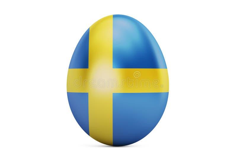 Uovo di Pasqua con la bandiera della Svezia, 3D illustrazione di stock