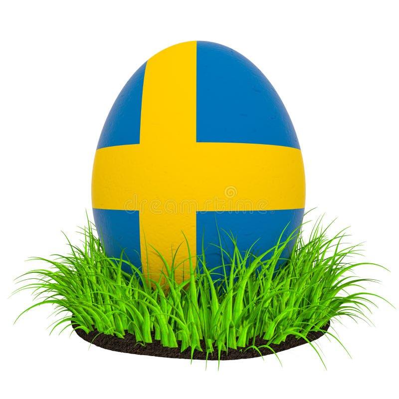 Uovo di Pasqua con la bandiera della Svezia nell'erba verde, rappresentazione 3D illustrazione di stock