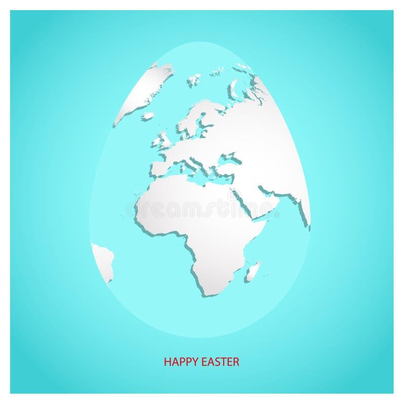 Uovo di Pasqua con la mappa di mondo bianca Pianeta Terra nella forma di uovo sul fondo degli azzurri con il testo Pasqua felice  illustrazione di stock