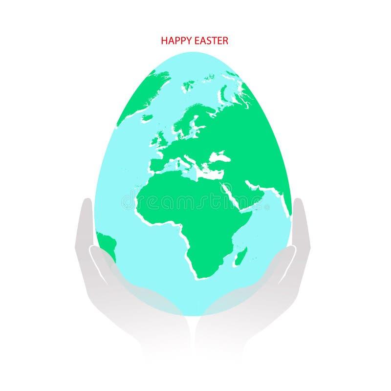 Uovo di Pasqua con la mappa di mondo verde e blu in mani o palme di numan Pianeta Terra nella forma di uovo su fondo bianco con i royalty illustrazione gratis
