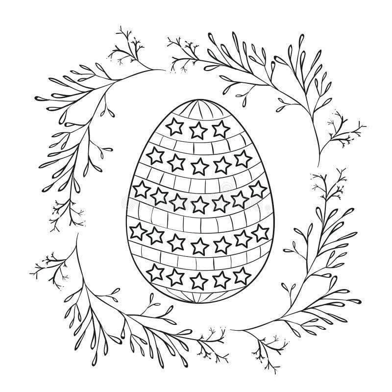 Uovo di Pasqua con le stelle e la struttura decorative dei rami intorno in siluetta monocromatica illustrazione di stock