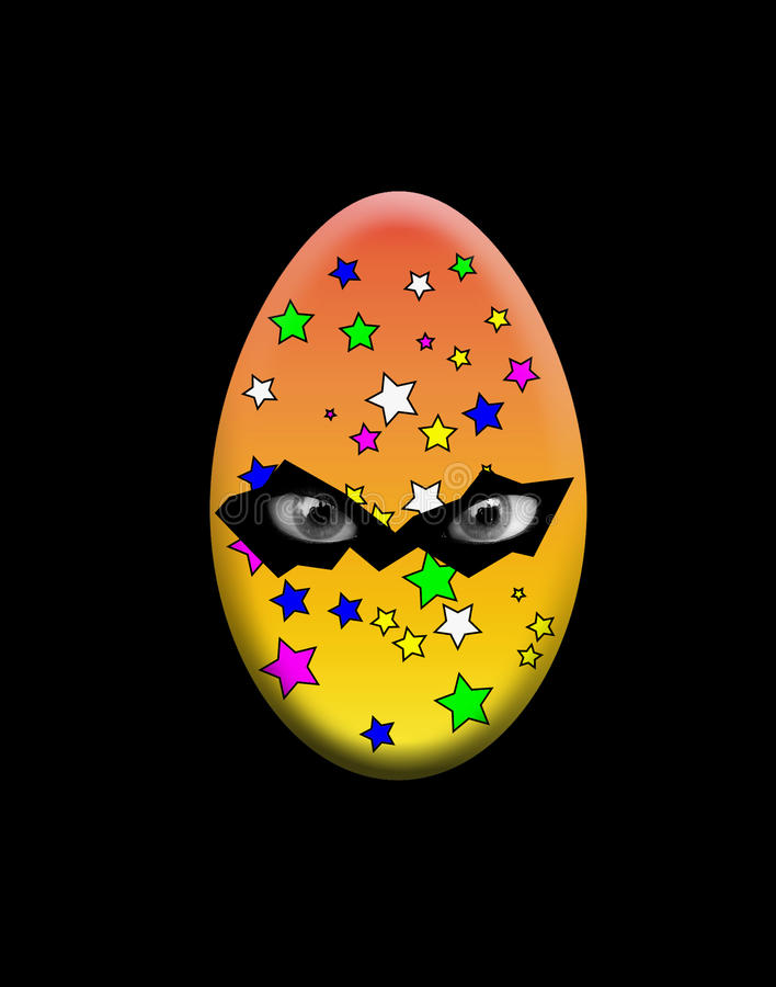 Uovo Di Pasqua Sinistro Con Gli Occhi Fotografia Stock