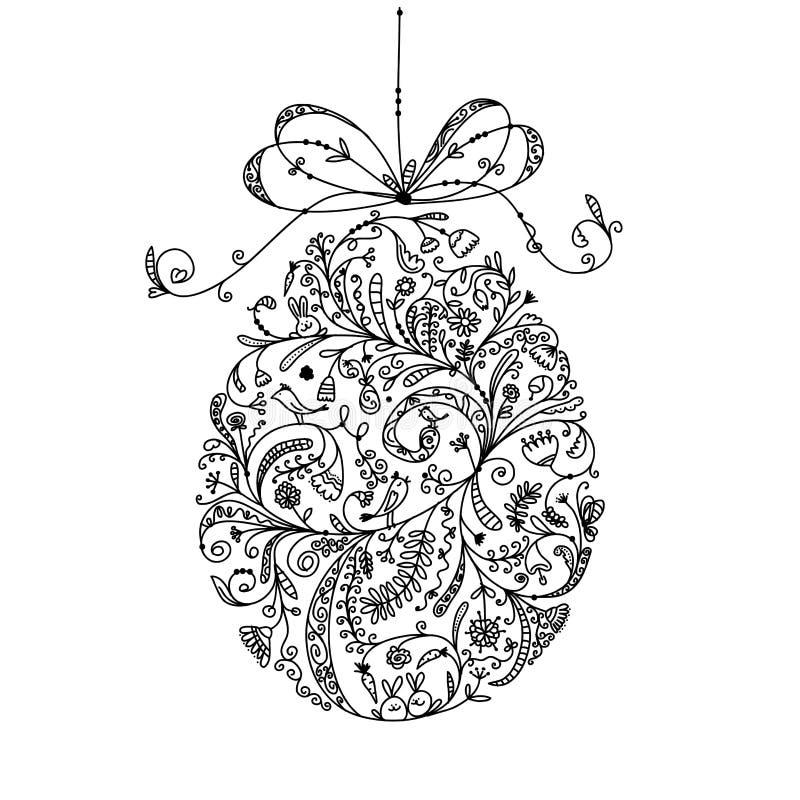 Uovo di Pasqua d'annata astratto per la vostra progettazione royalty illustrazione gratis