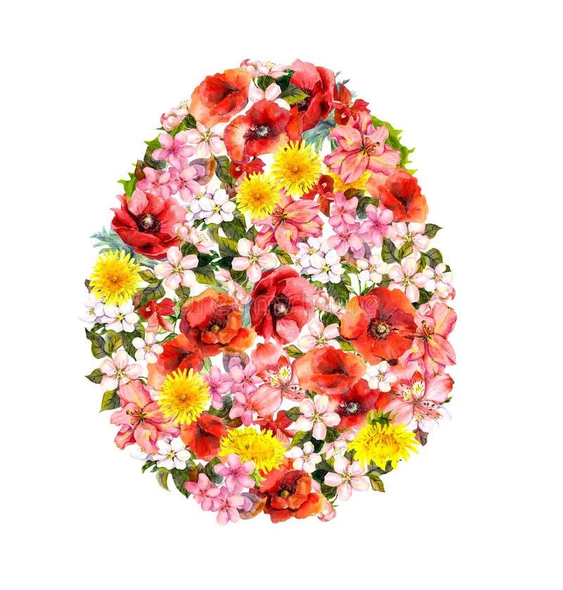 Uovo di Pasqua dai papaveri, fiori del prato Acquerello floreale illustrazione di stock