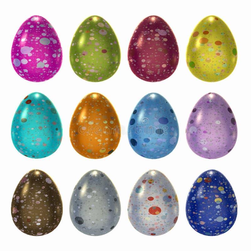 Uovo di Pasqua decorato messo con il percorso di ritaglio fotografia stock
