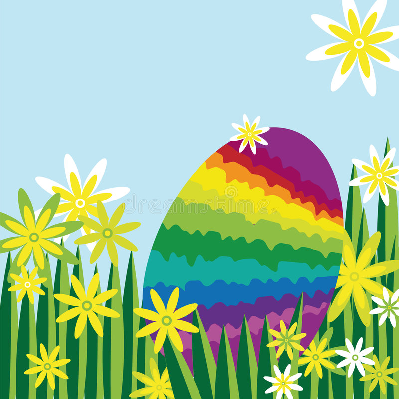 Uovo di Pasqua del Rainbow nascosto in un prato del fiore illustrazione di stock
