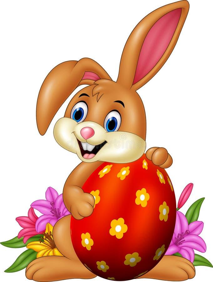 Uovo di Pasqua Della holding del coniglietto del fumetto illustrazione vettoriale