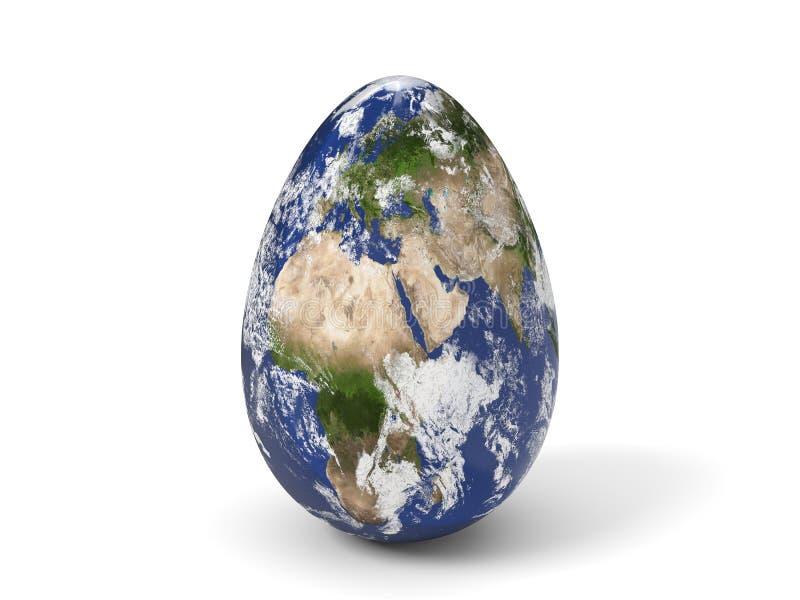 Uovo di Pasqua dipinto come terra illustrazione 3D illustrazione di stock