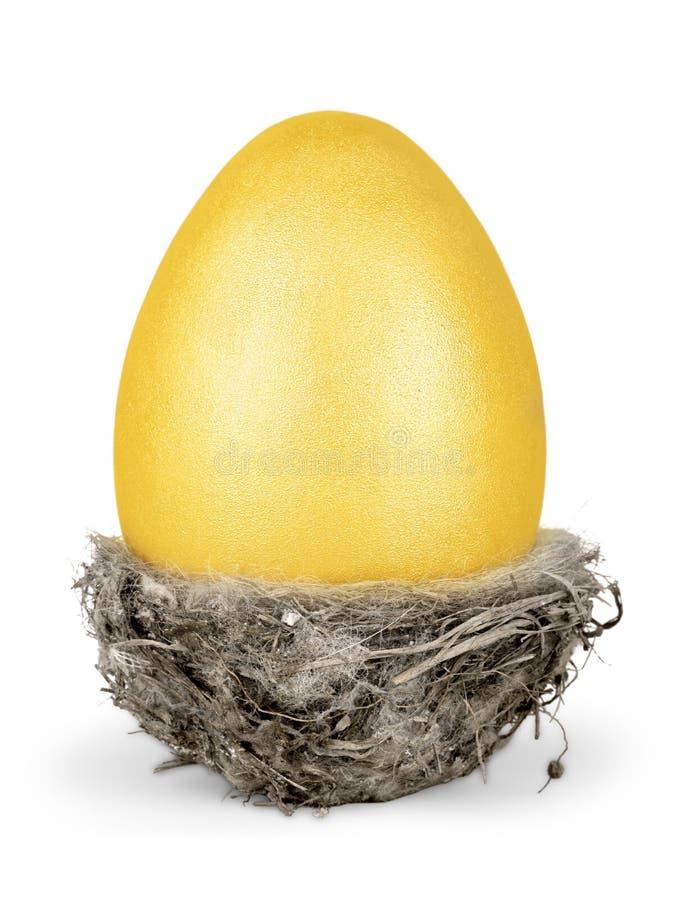 Download Uovo Di Pasqua Dorato In Un Piccolo Nido Isolato Immagine Stock - Immagine di verde, presentazione: 117980483