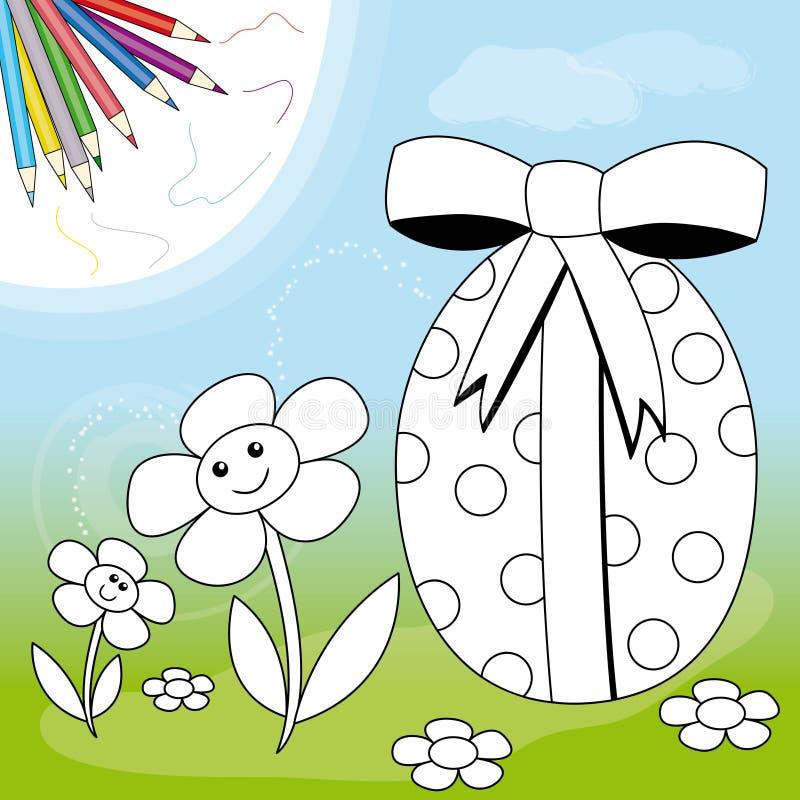Uovo di Pasqua e fiori royalty illustrazione gratis