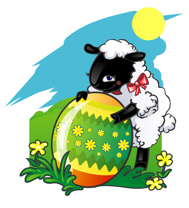 Uovo di Pasqua ed agnello illustrazione di stock