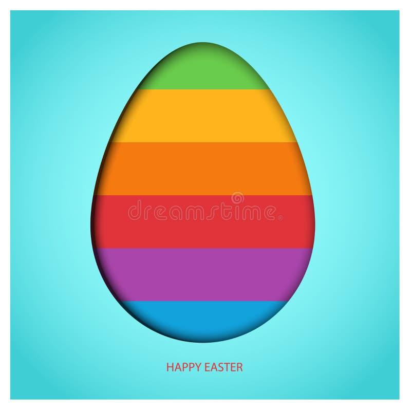 Uovo di Pasqua sul fondo degli azzurri con l'arcobaleno variopinto della molla Testo felice rosso di saluto di Pasqua Progettazio royalty illustrazione gratis