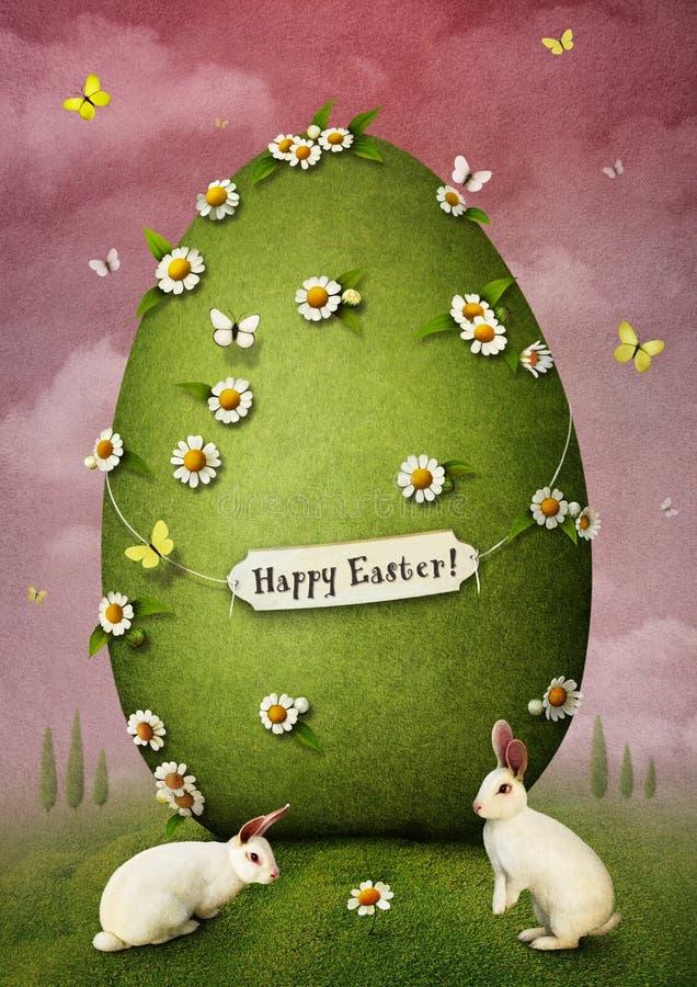 Uovo di Pasqua verde illustrazione di stock