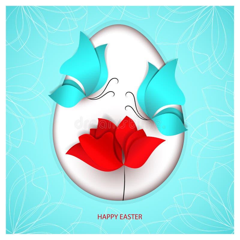 Uovo di stile del taglio della carta di Pasqua sul fondo blu con le farfalle, tulipano rosso luminoso di colore del fiore carta 3 royalty illustrazione gratis
