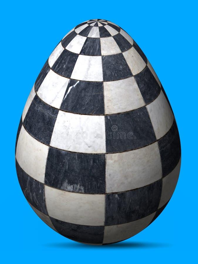 Uovo dipinto ingegnoso in bianco e nero delle cellule di marmo a quadretti illustrazione di stock
