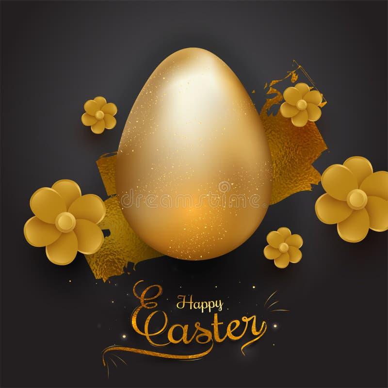 Uovo dorato brillante realistico di colore e bello fiore su fondo nero con testo alla moda di Pasqua felice royalty illustrazione gratis