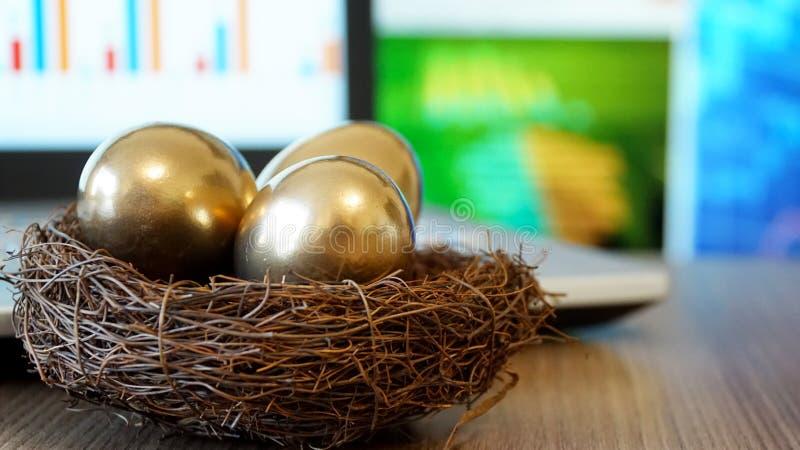 Uovo dorato Fabbricazione soldi e di riuscito investimento fotografia stock