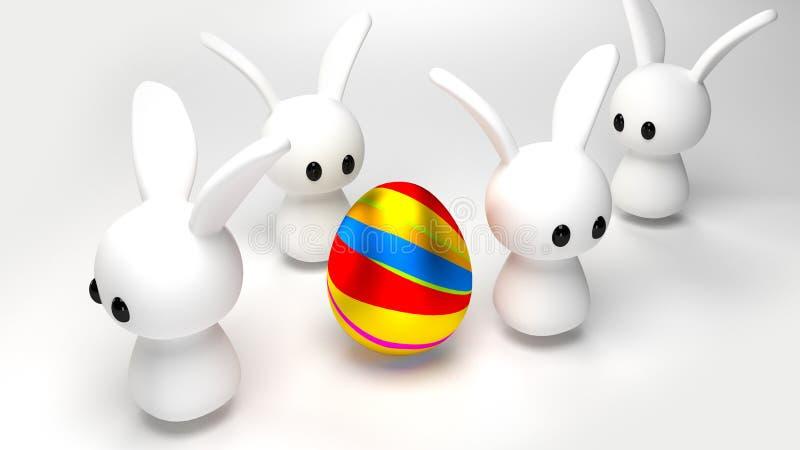 Uovo e coniglietti immagini stock