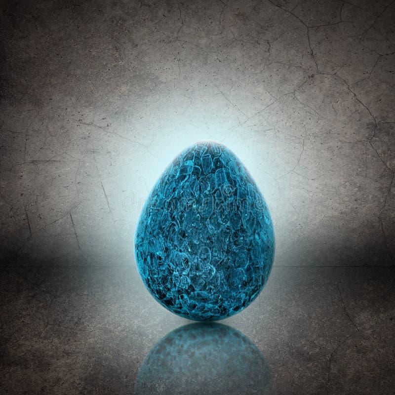 Uovo fatto di ghiaccio sul fondo di lerciume illustrazione di stock