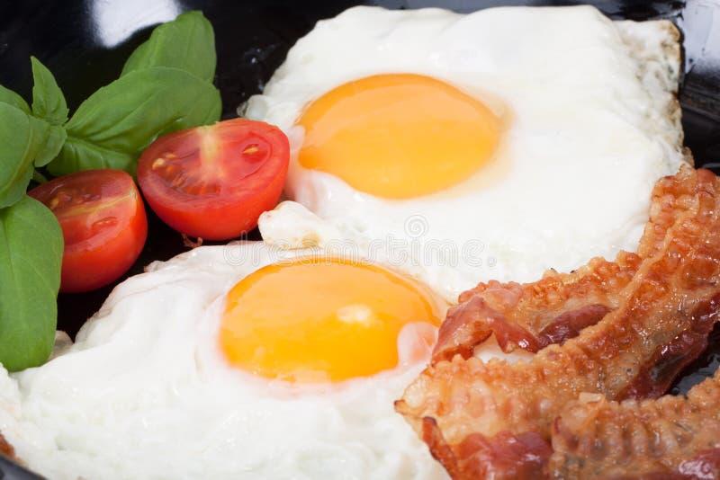 Uovo fritto con pancetta affumicata fotografia stock