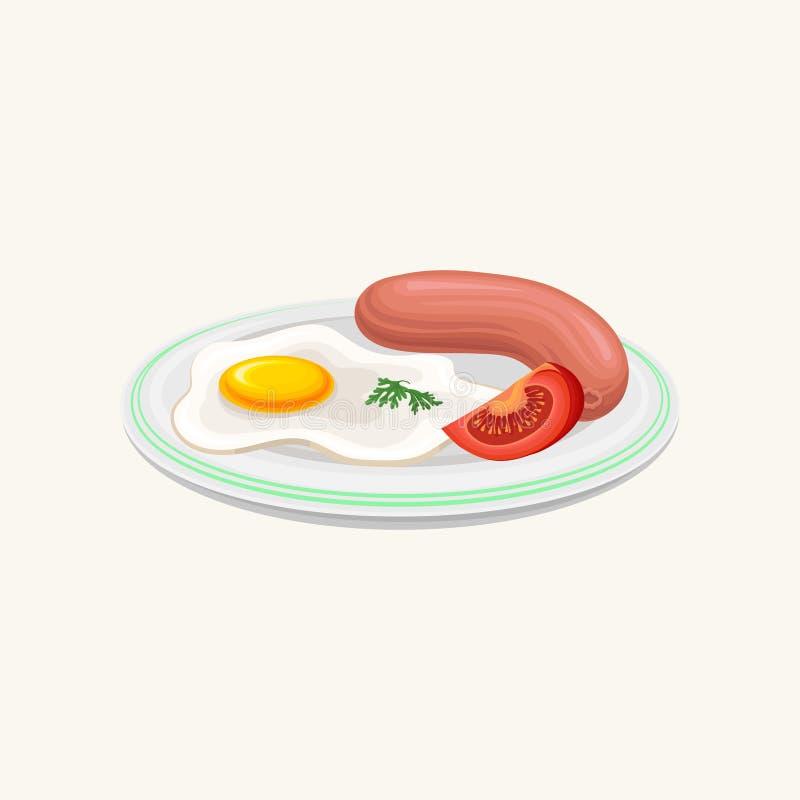 Uovo fritto, salsiccia e fetta di pomodoro sul piatto Concetto classico di buongiorno della prima colazione Elemento grafico pian royalty illustrazione gratis