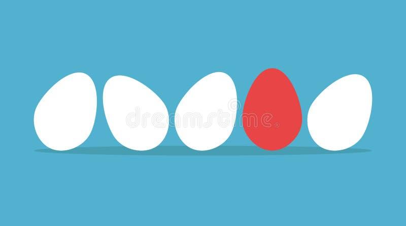 Uovo unico nella fila illustrazione di stock