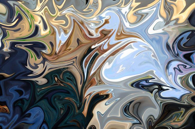 Upłynnia abstrakta wzór Z błękitem I Zielenieje grafika koloru forma sztuki, Brown, kolor żółty, czerń Cyfrowego tło Z Liquifying ilustracja wektor